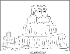 S.Mac's Jello Mold Monster Coloring Page