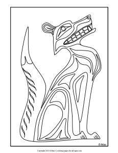 S.Mac's Northwest Native American Fox Coloring Page