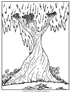 S.Mac's Surrealistic Coloring Page,  Tree Spirit  - Woman