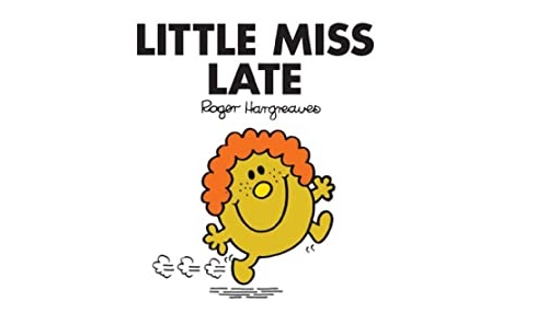 這是 Little Miss Late,來自知名 Mr. Men and Little Miss童書系列。Little Miss Late 是個不管做什麼總是遲到的傢伙。