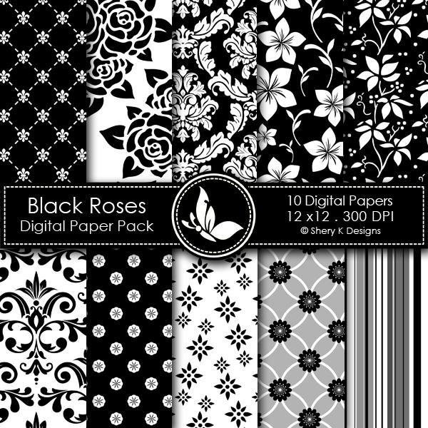 Black Roses Digital Papers \u2013 Shery K Designs