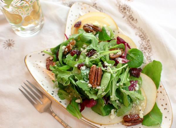 korean pear, cranberry, pecan salad