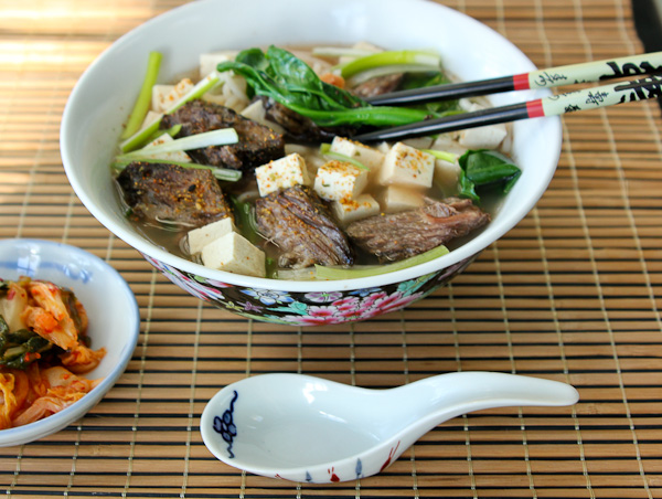 Japanese rice noodle soup, gai lan, rice noodle soup, Asian rice noodle soup