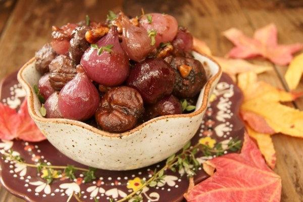 Red Wine Braised Chestnuts and Pearl Onions