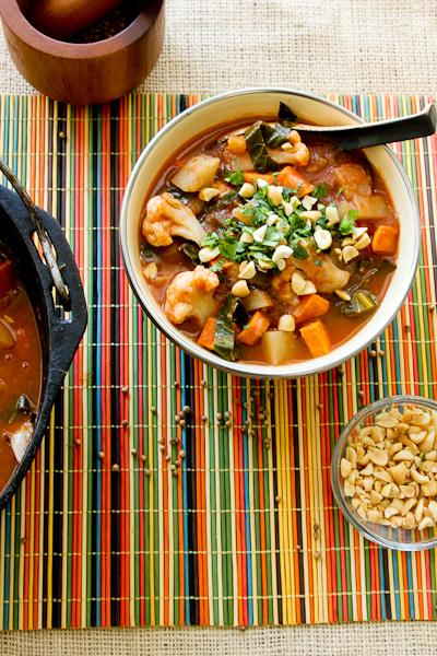 African Potato & Cauliflower Stew, vegetarian stew, African potato stew