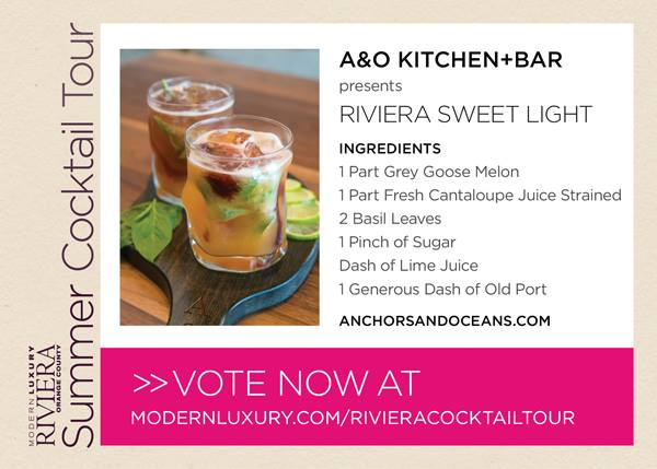 Riviera Sweet Light cocktail, A & O Kitchen