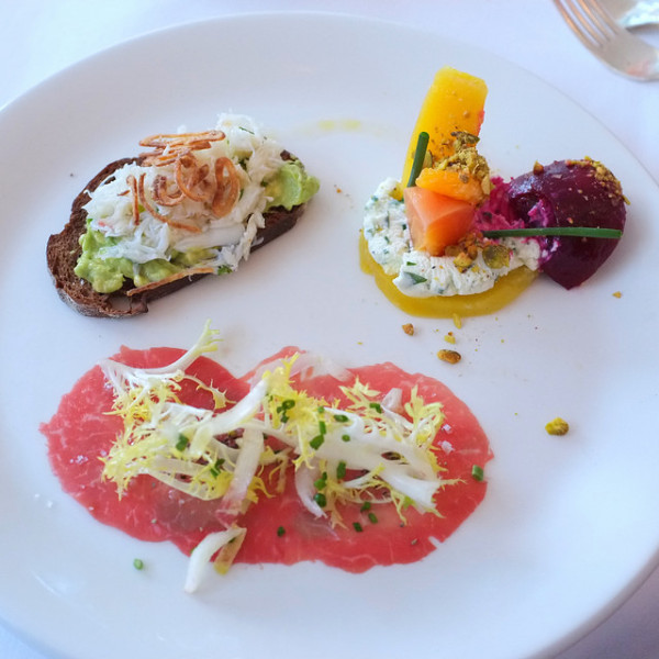 Avocado & Crab Toast, Beet & Buratta Salad, Beef Carpaccio & Truffle Vinaigrette