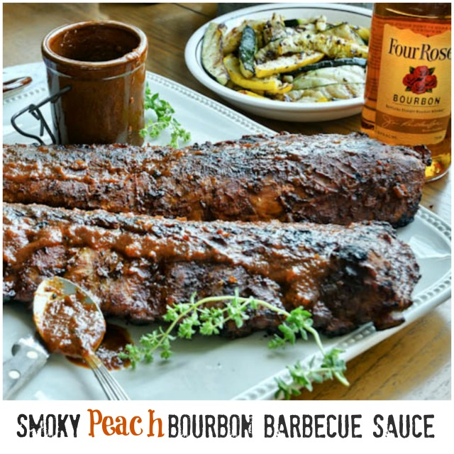 Smoky Bourbon Peach Barbecue Sauce with #FourRoses | She's Cookin ...