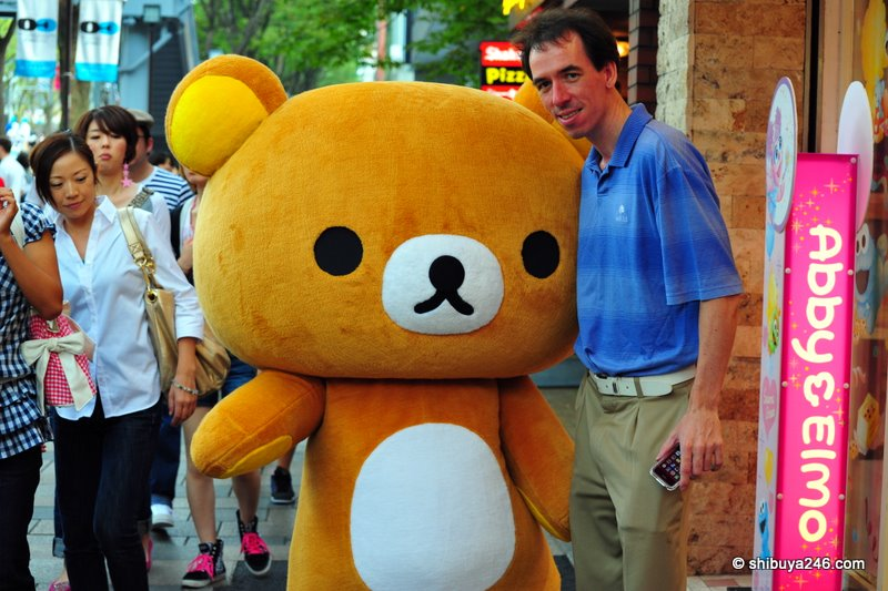 Posing with Rilakkuma in front of Kiddlyand, Harajuku