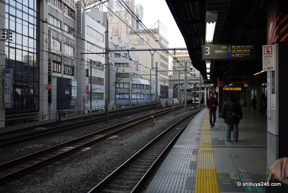 On the platform of the Shonan Shinjuku Liner, Rinkai Line and Saikyo Line at Shibuya Station. The platform for the Yamanote Line is further up in the distance.