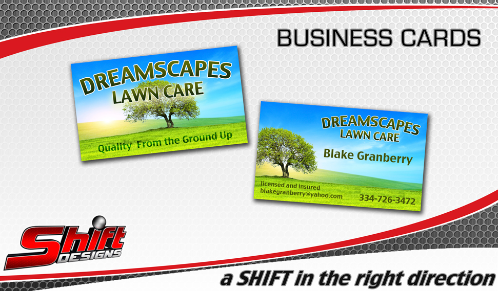 Dreamscapes Lawn Care Business Card Dothan Alabama Shift Designs - lawn care business cards