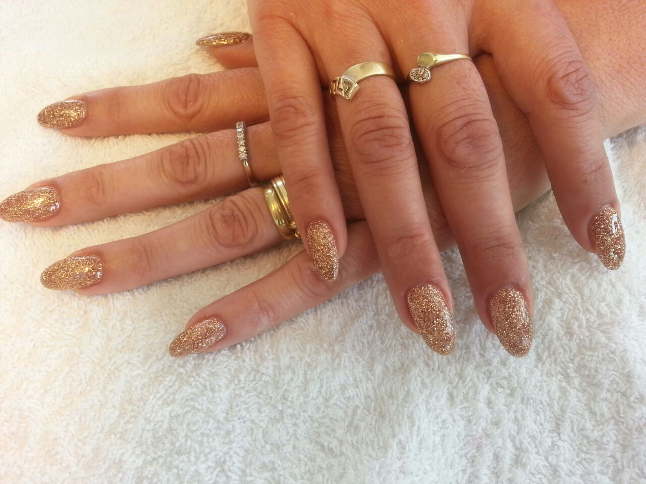 Glitter Gold Gel Nails Shilly Beauty Care