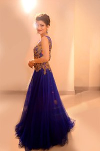 Indian Engagement Gown | Blue Dress & Bridal Hairstyle