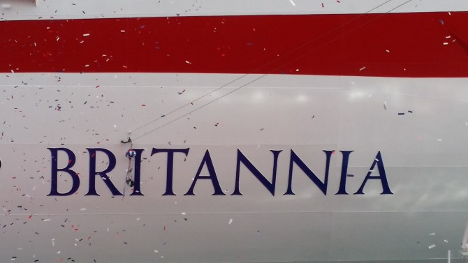 Britannia's Hull after the Wiston champagne launch