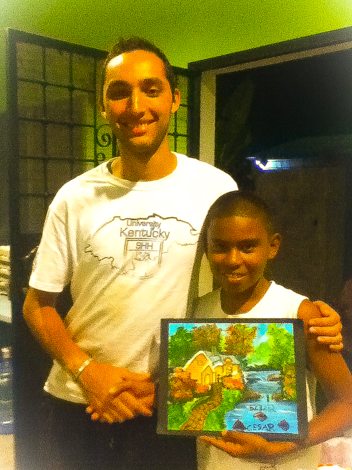 Kevin with Julio Cesar's painting