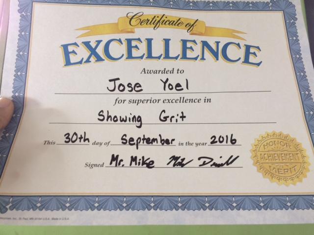 Certificate of Excellence Joche Grit Villa Soleada Bilingual School Michael Driscoll