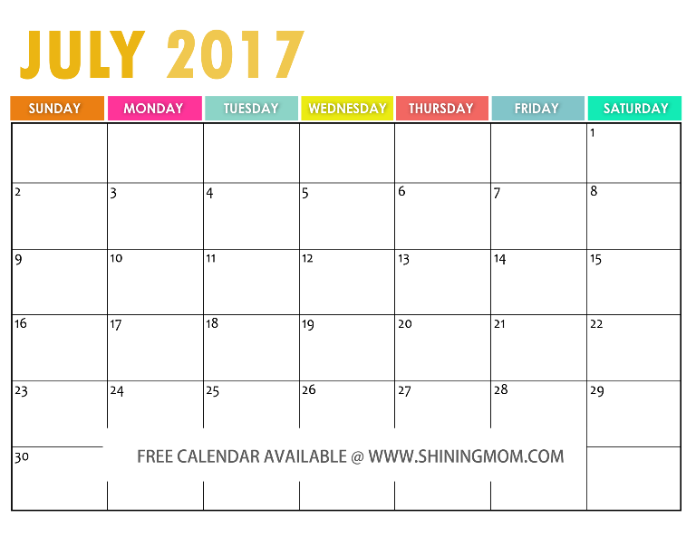 July Calendar 2017 Colorful – Printable Pages