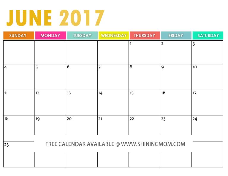 Calendar 2017 Printable June