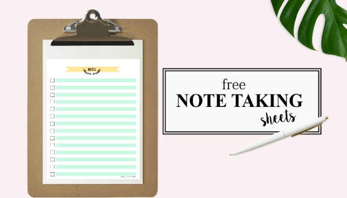 Happy Freebie Monday: Note Taking Sheets!