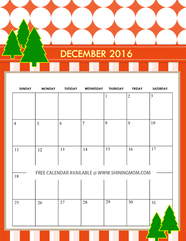 December Calendar 2016 Printable Pdf : Free december calendars christmas themed designs