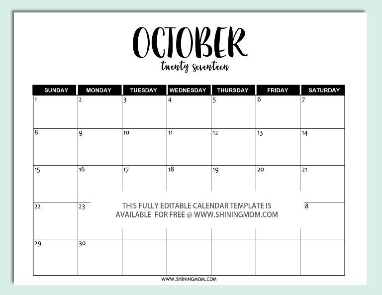 Calendar October 2017 Word Doc