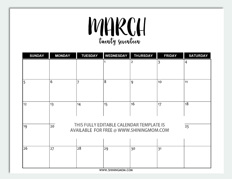 March 2017 Calendar Template Word – Work Calendar