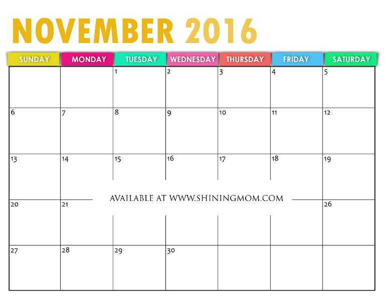 November Calendar 2016 Printable : Free printable calendar for november