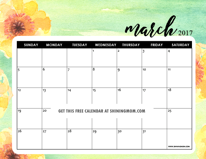 Free Printable March 2017 Calendars : 12 Pretty Designs!