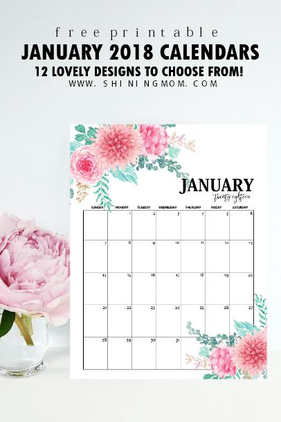 Free Printable January 2018 Calendar: 12 Awesome Designs!