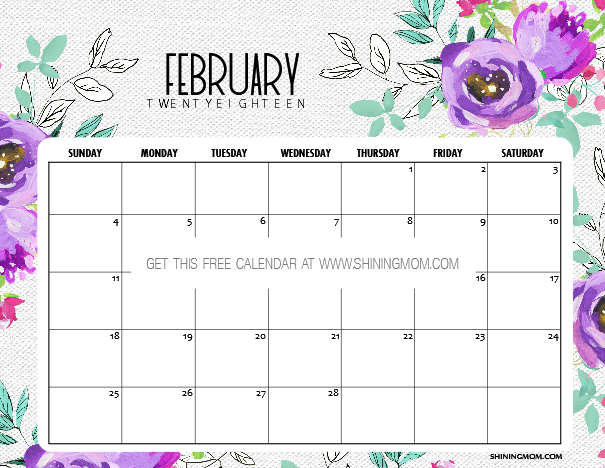 Free Printable February 2018 Calendar: 12 Amazing Designs!
