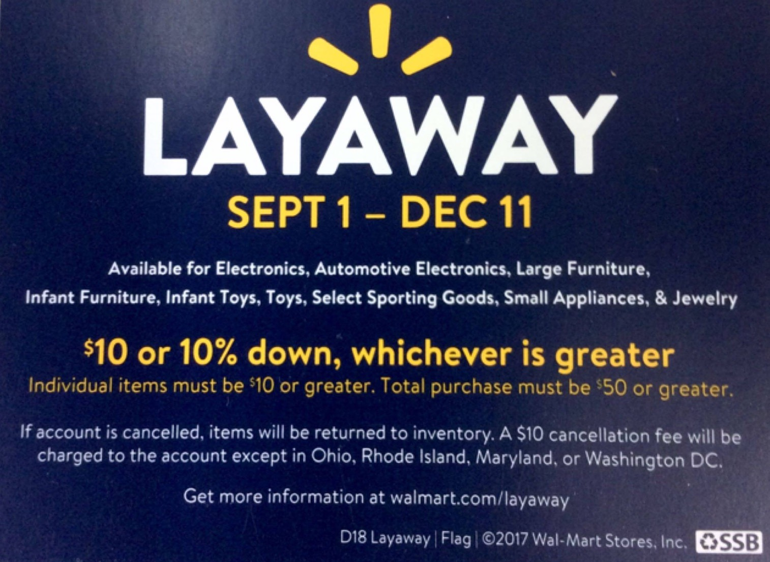 Furniture Stores Near Me With Layaway Walmart Layaway 2017 Policy Starts September 1st Ship Saves