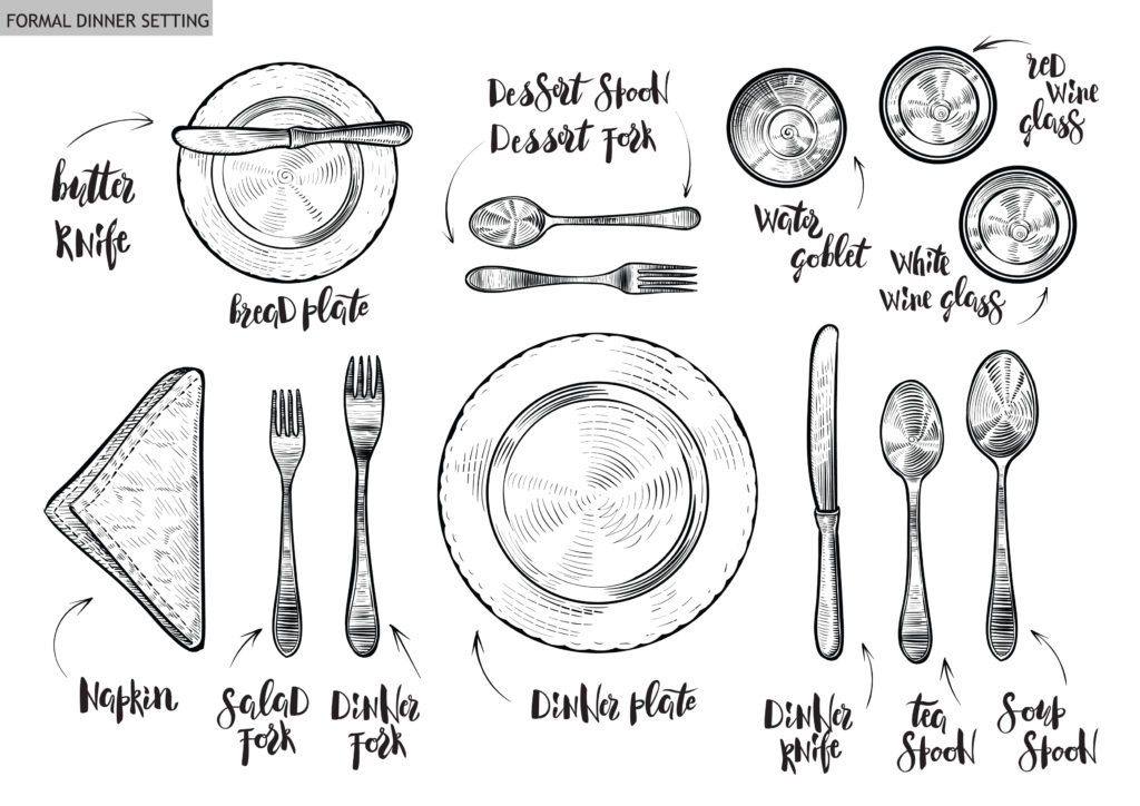 christmas table setting diagram
