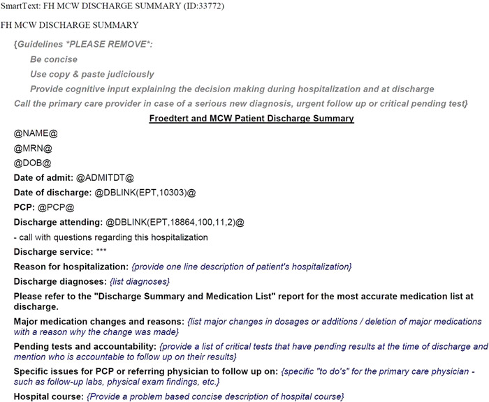 Standardized Discharge Summary Deployment Across All Inpatient - discharge summary template
