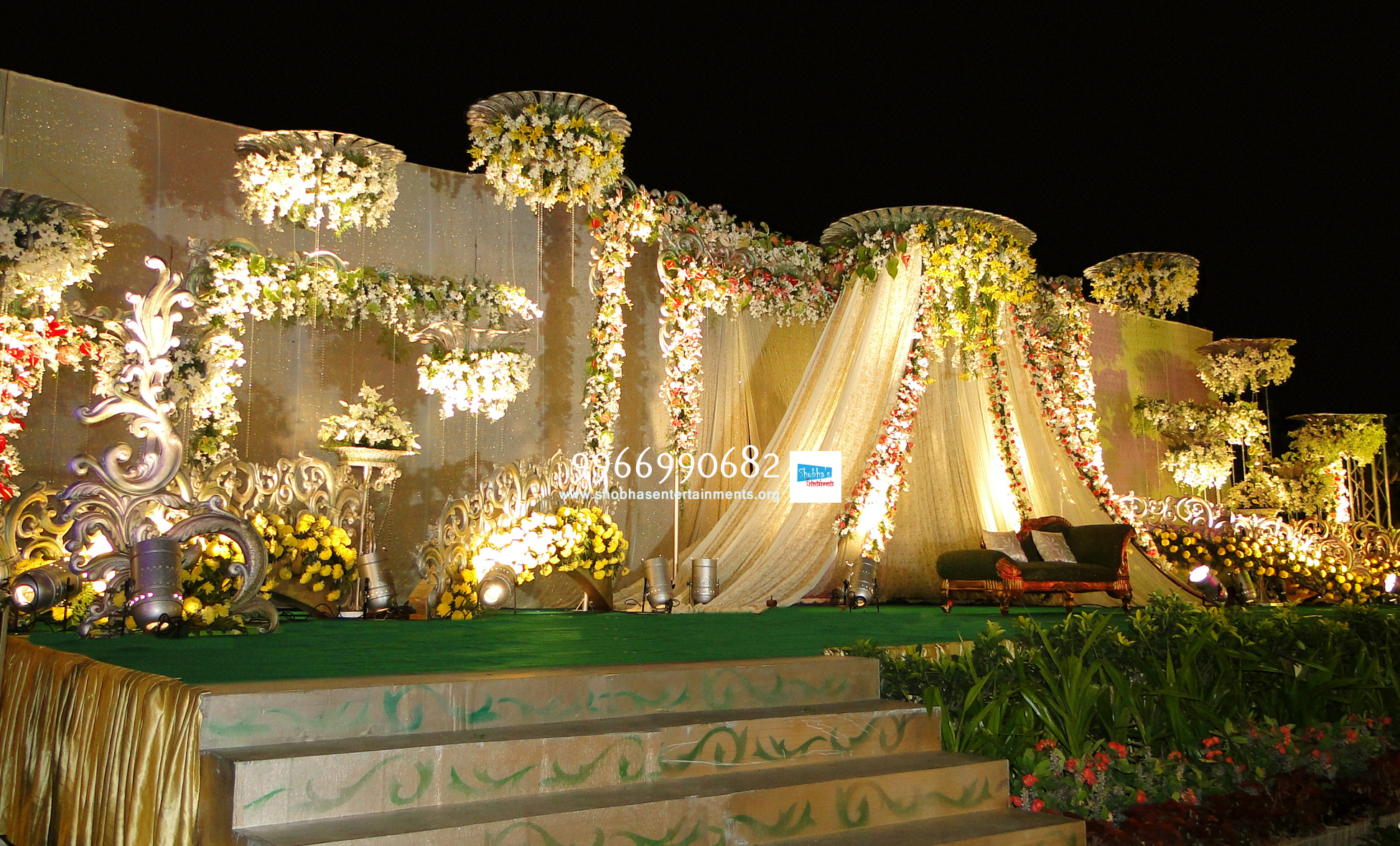 Stage Decoration Reception Stage Flower Sets Decoration In Hyderabad Shobha S