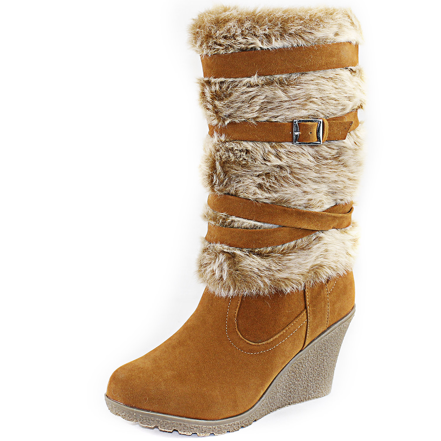 Tan Vegan Faux Fur Boots High Wedge Heel Platform Zipper
