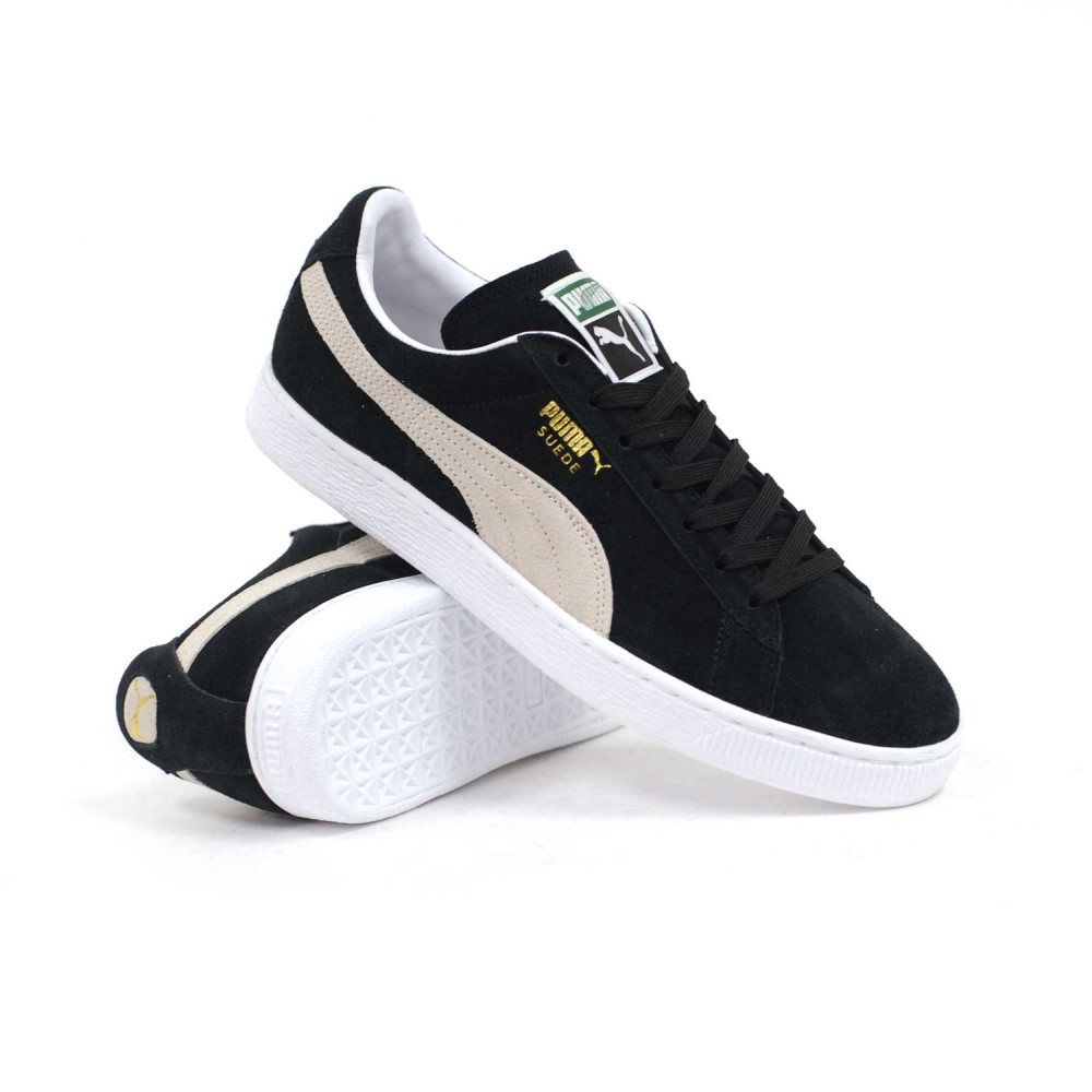 Puma suede classic plus black white men s skate shoes p4200