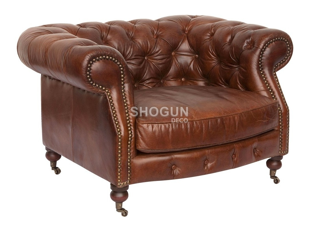 Canape Cuir 3 Places 2 Fauteuils Fauteuil Club Chesterfield Zola Cuir Marron