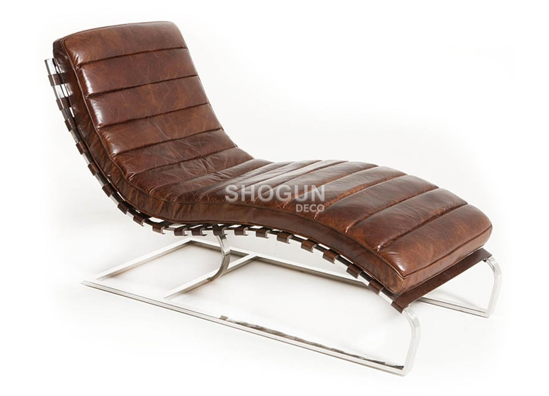 Meridienne Cuir Design Chaise Longue Méridienne Lounge Cuir Marron Cigare