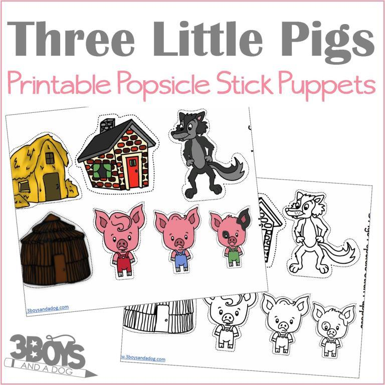 Three Little Pigs Popsicle Stick Puppets - 3 Boys and a Dog, Shop