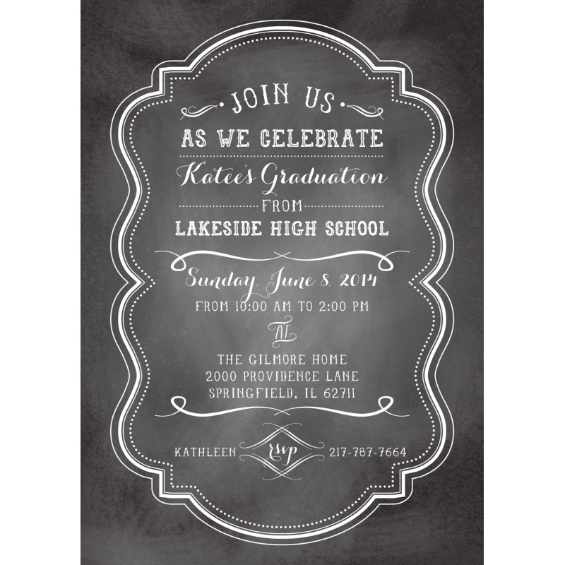 Chalkboard Graduation Party Printable Invitation - graduation party invitations