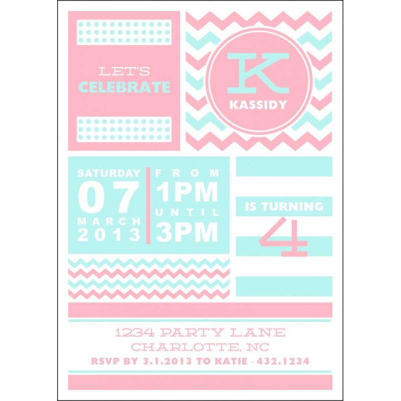 Chevron Stripes and Polka Dots Printable Party Invitation - Choose