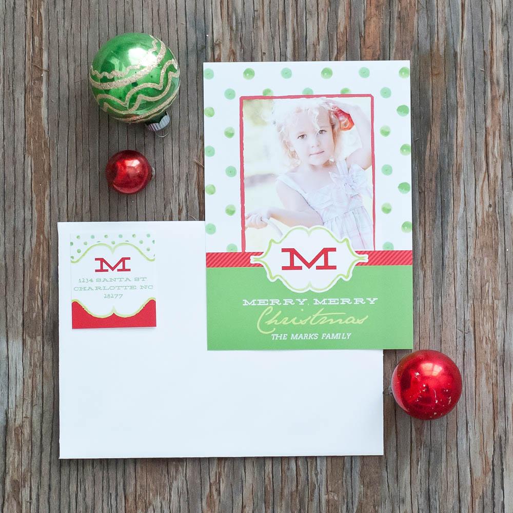 Polka Dot Printable Holiday Photo Card - Green