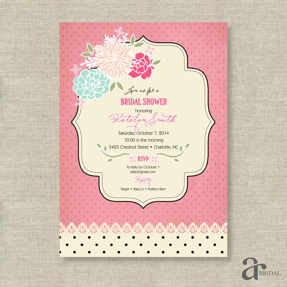 Shabby Chic Vintage Rose and Polka Dot Bridal Shower Printable