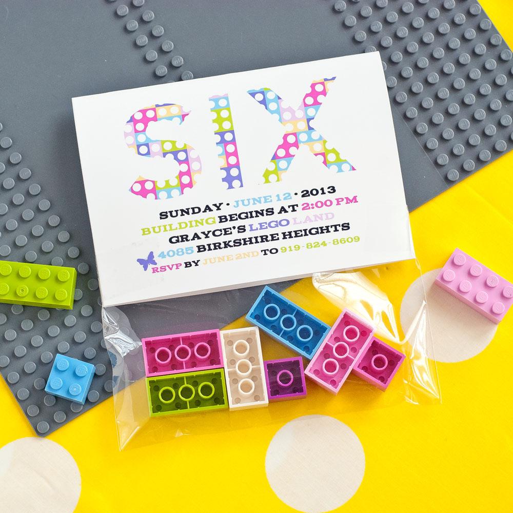 Modern Building Bricks Girls Birthday Party Printable Invitation