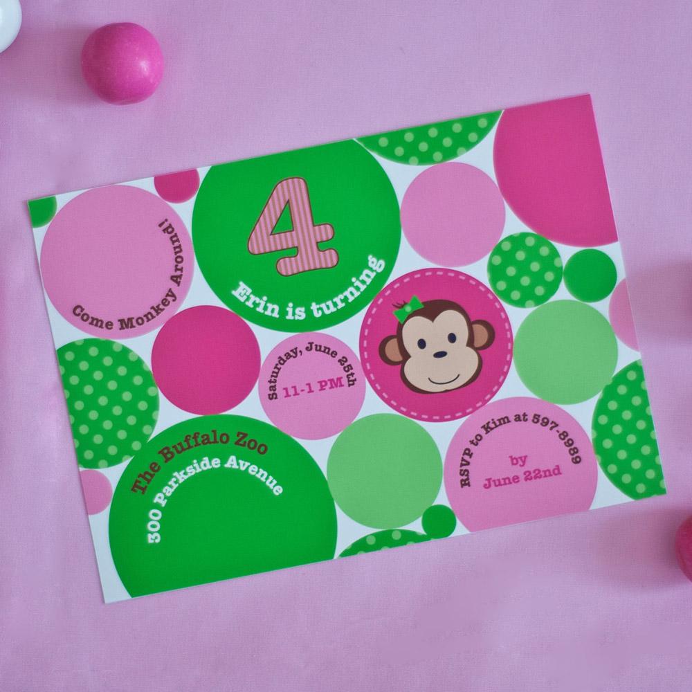 Monkey Polka Dot Printable Invitation - Pink Green