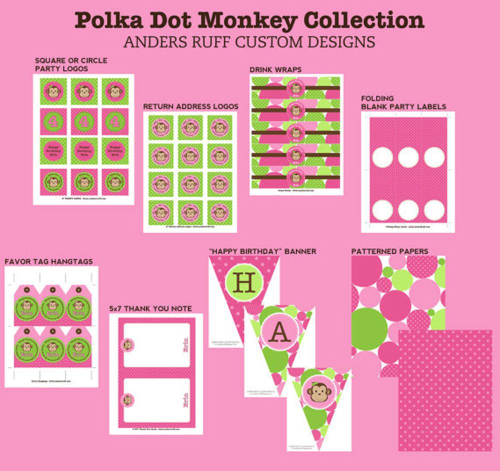 Monkey Polka Dot Birthday Party Printable Collection - Pink Green
