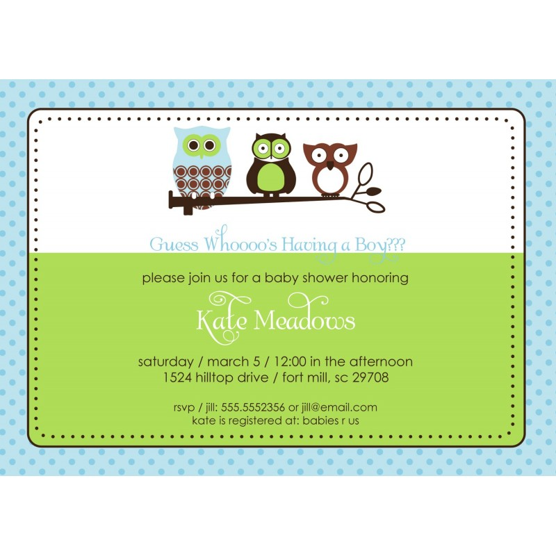 Owl Baby Shower or Birthday Party Printable Invitation - Blue