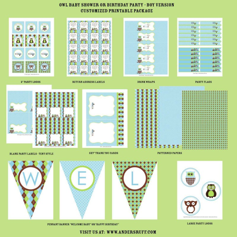 Owl Baby Shower or Birthday Party Printables Collection - Blue