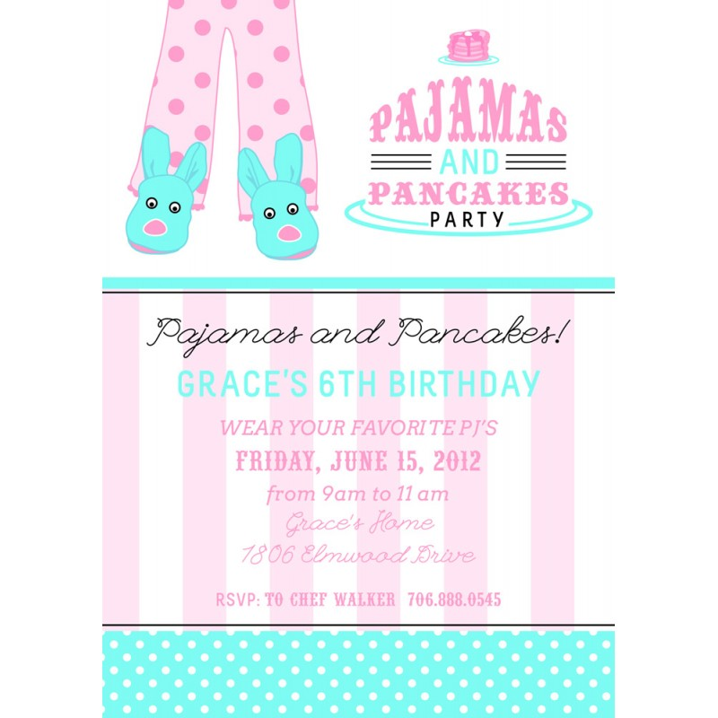 Pancakes and Pajamas Slumber Birthday Party Sleepover Teen Tween