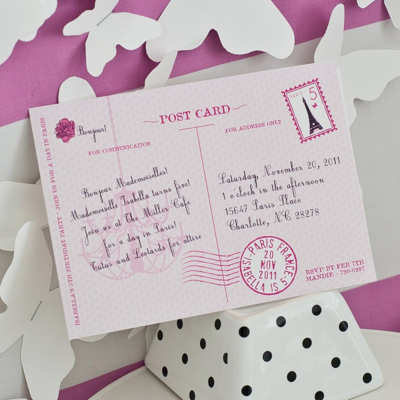 Glamorous Paris Postcard - Parisian Party Invitation - post card invitations